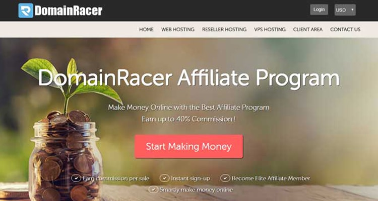 highest paying web hosting affiliate program DomainRacer
